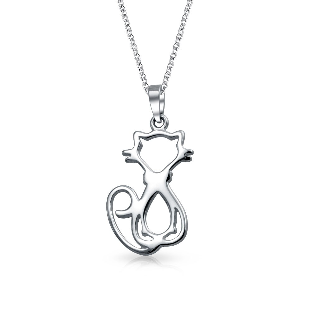 cat jewelry bling jewelry 925 sterling silver cat silhouette pendant 16 inch necklace ggkjalm