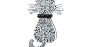 cat jewelry bling jewelry silvertone white pave cz cat animal brooch pin cpogmkq
