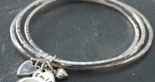 charm bangles silver hammered bangles with fingerprint heart charm ahrxrrj