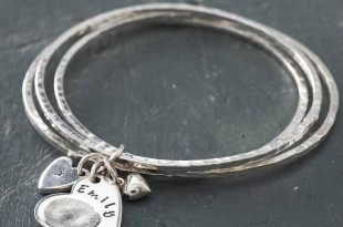charm bangles silver hammered bangles with fingerprint heart charm ahrxrrj