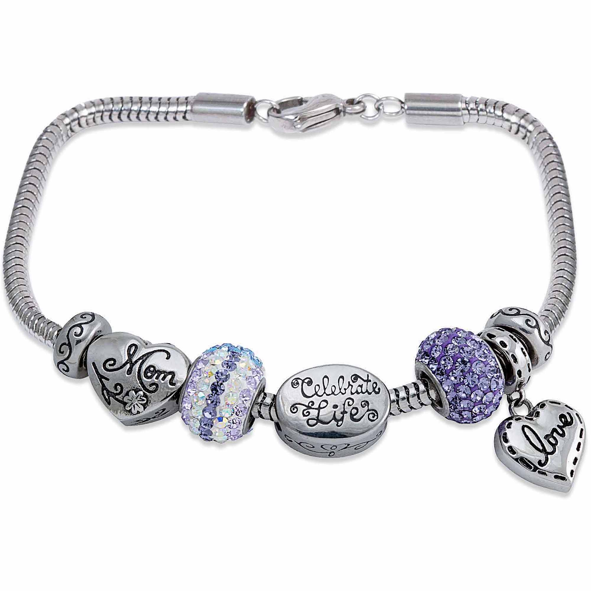 charm bracelets for women connections from hallmark stainless steel limited edition mom charm bracelet  set wonjiuc
