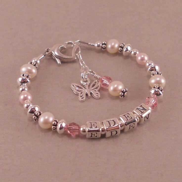 childs name bracelet, white pearls, birthstone, personalized, toddler,  little girls jewelry krexmpb