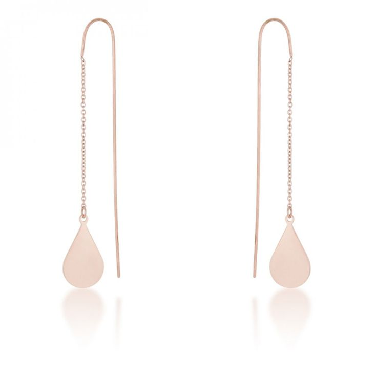 chloe rose gold stainless steel teardrop threaded drop earrings kogcmrd