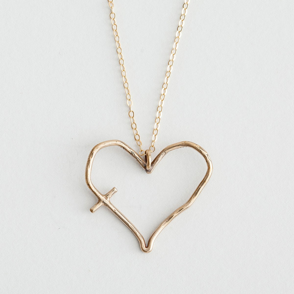 christian jewelry his word in my heart - yellow bronze pendant necklace tofvivk