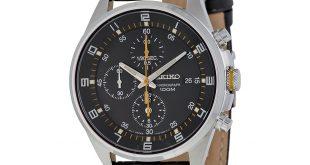 chronograph watch seiko black dial black leather strap chronograph menu0027s watch sndc89p2 ... kywbxlr