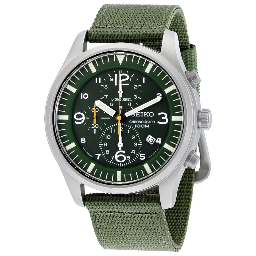 chronograph watch seiko chronograph green dial green nylon strap menu0027s watch vtbloim