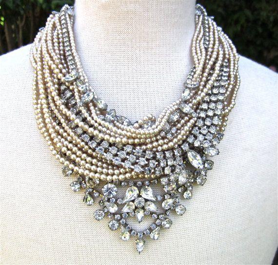 chunky rhinestone necklace pearl bib statement necklace bridal rhinestone u0026  pearl (tom binns inspired) joqwidr
