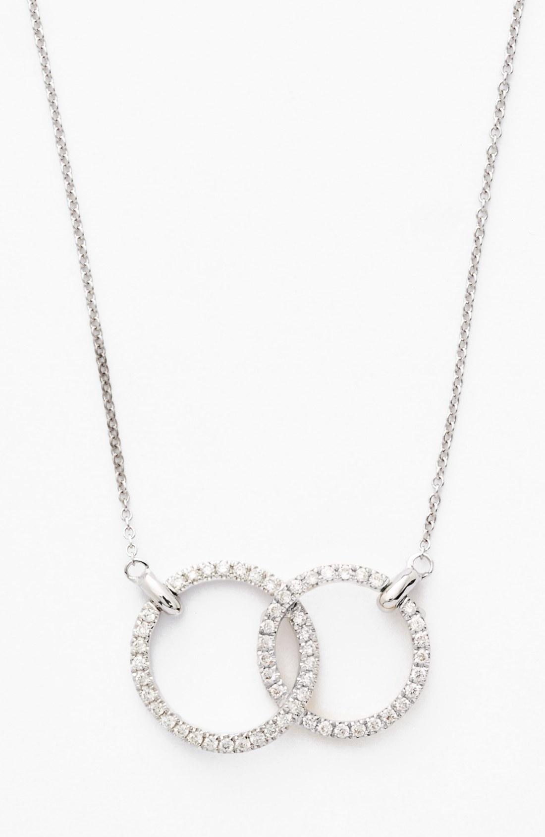 circle necklace womenu0027s bony levy double diamond circle pendant necklace (nordstrom  exclusive) zfmhuaf
