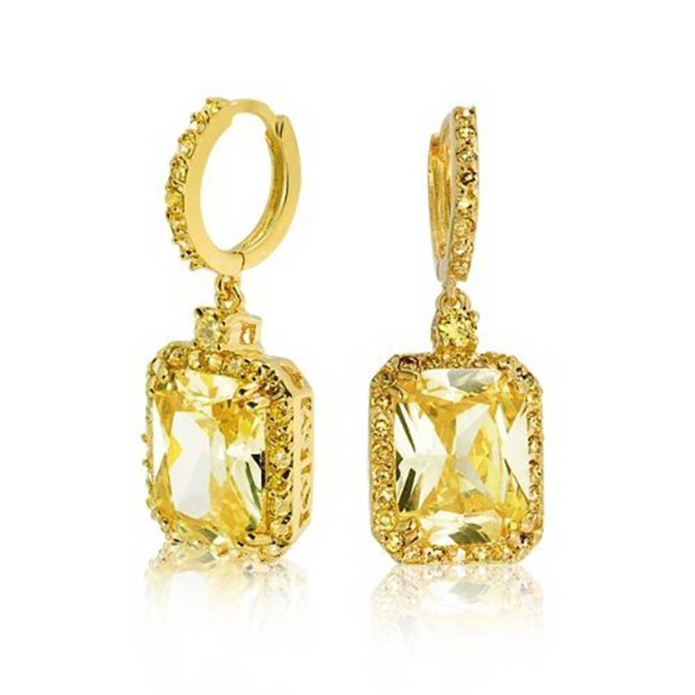 citrine earrings bling jewelry gold tone cz huggie hoop emerald cut citrine color dangle  earrings ovdyiuf