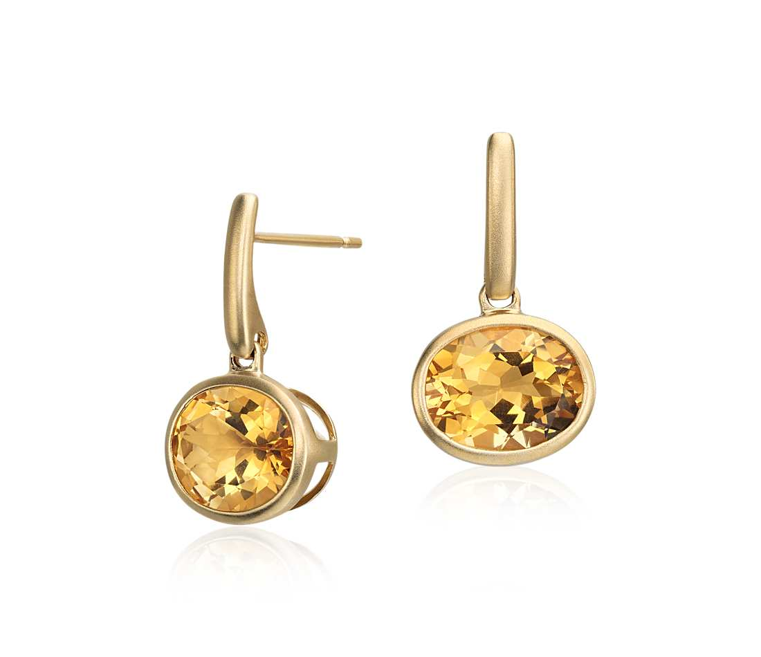citrine earrings citrine drop earrings in 14k yellow gold (10x8mm) afsxyar