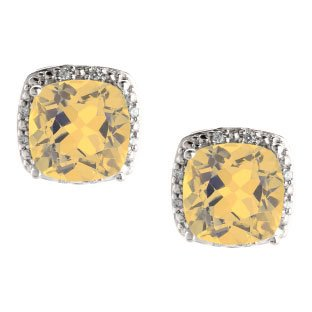 citrine earrings cushion cut citrine november gemstone white gold diamond earrings $270.00 vozevro