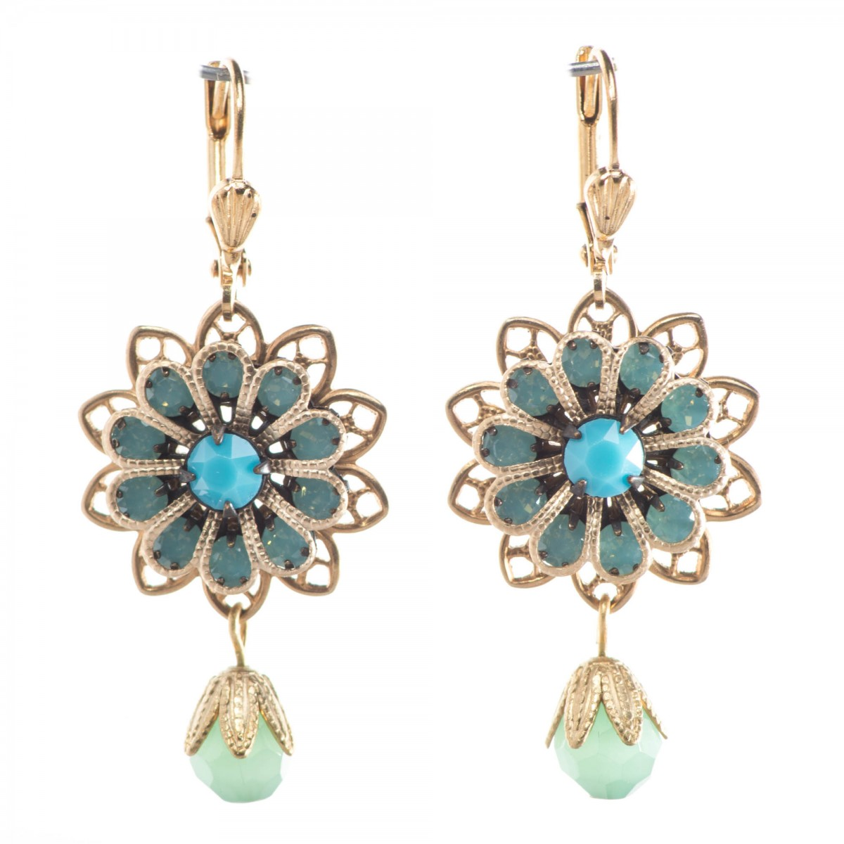 clara beau beautiful paific opal crystal flower filigree earrings mjyknno