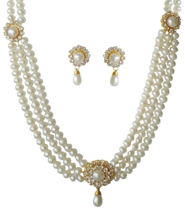 classique designer jewellery long haram white pearl necklace set xskxznh