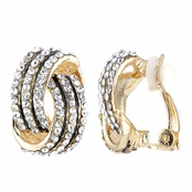 clip earrings sallyu0027s fancy goldtone rhinestone love knot clip on earrings uwgrdtw