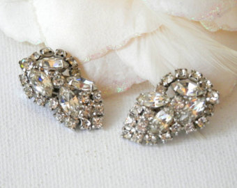 clip on earrings, rhinestone earrings, cocktail earrings, vintage earrings flrjguj