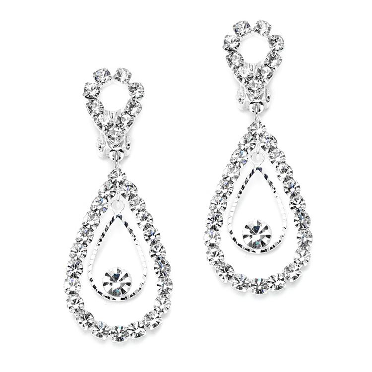 clip on rhinestone earrings with open teardrop anywhere hair nrimijp