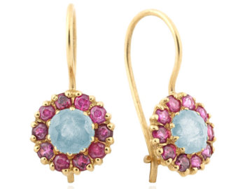 cocktail earrings blue topaz ruby drop earrings, round floral earrings, solid gold cocktail  earrings, gemstone zwkxgjb