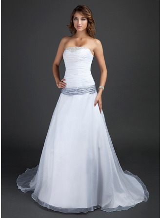 colorful wedding dresses a-line/princess strapless court train organza wedding dress with ruffle  sash beading vyhnmio
