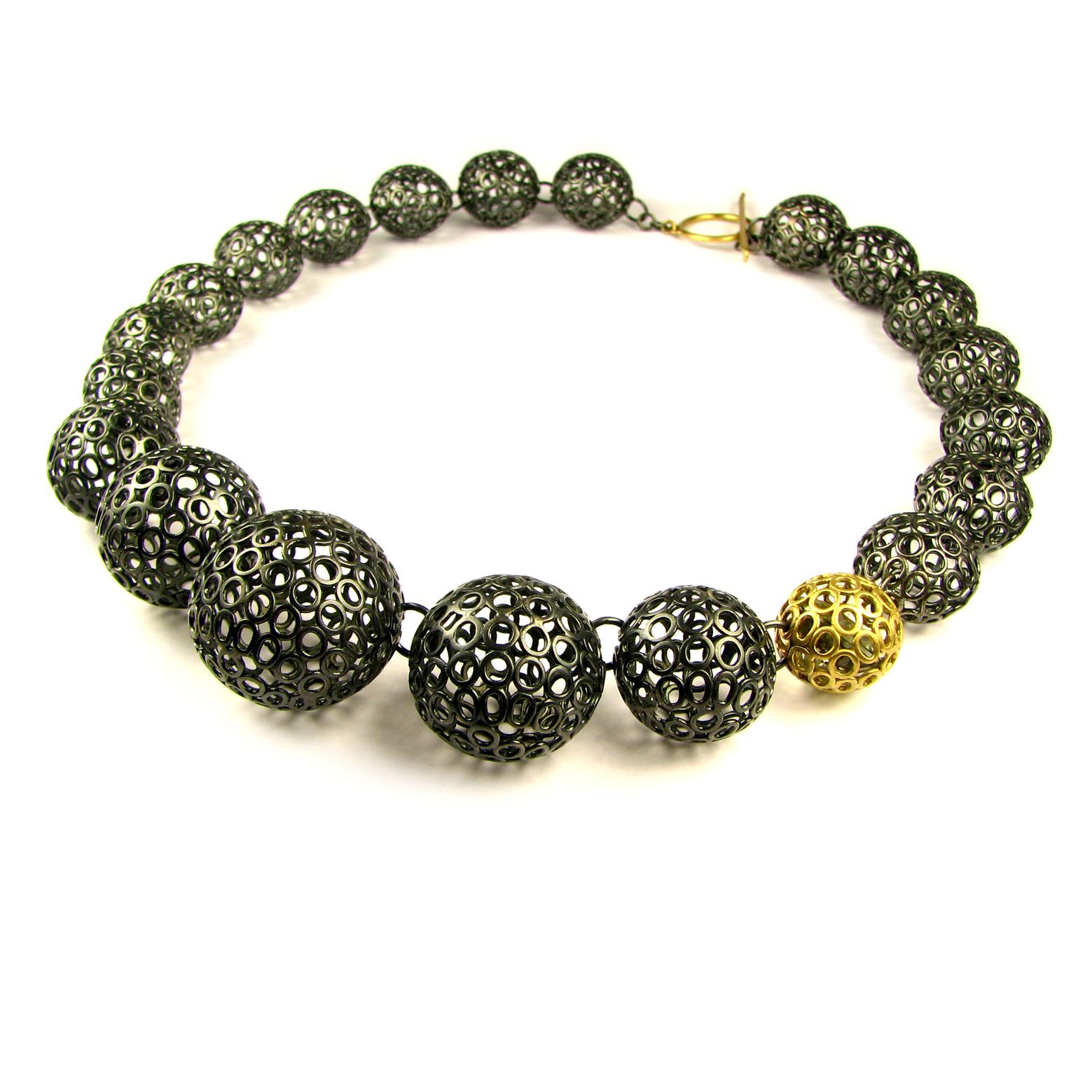 contemporary jewellery graduated multiple sphere necklace cexstul