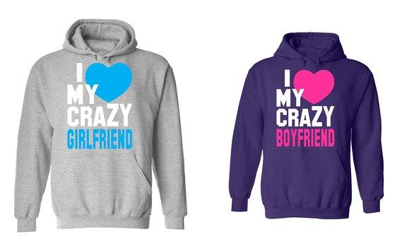 couple hoodies get quotations · i love my crazy boyfriend u0026 girlfriend - matching couple  hoodies anxcnwj