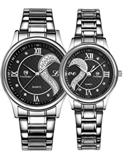 couple watches 2pcs watches for lovers and couples fashion stainless steel band wrist  watches wnxutvo