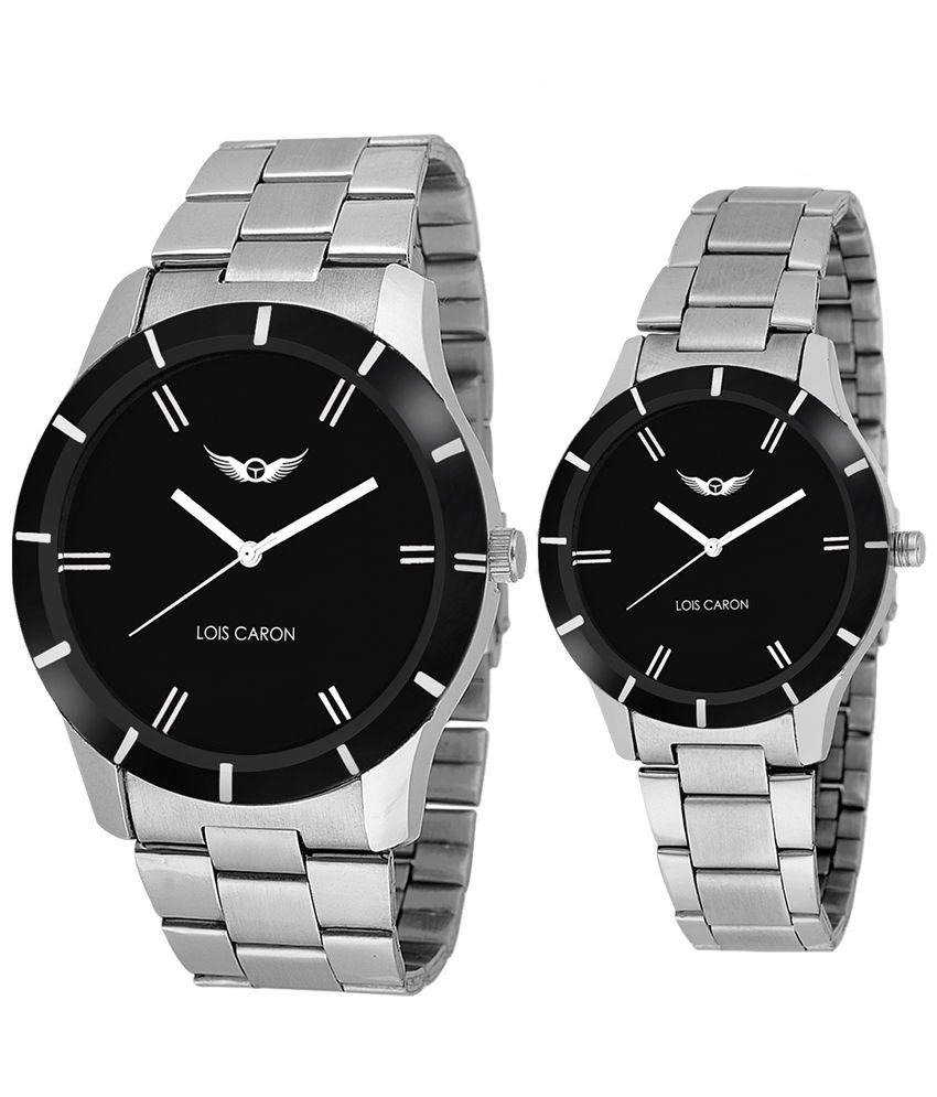 couple watches lois caron silver analog couple watch phxwvpv