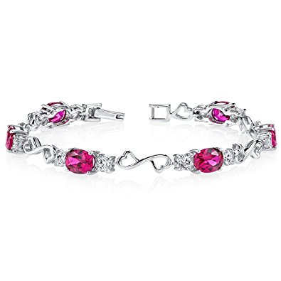 created ruby bracelet sterling silver oval shape 9.00 carats dkehdgp