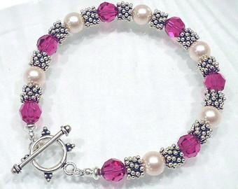 crystal bracelet beaded jewelry swarovski bracelet crystal pearl bracelet  custom jewelry AGWPHCR