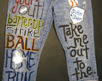 custom jeans for take me out to the ballgame sned me your jeans to paint tndexcm