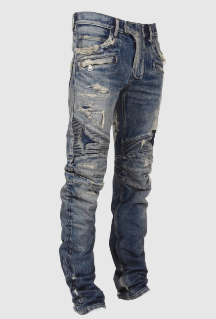 custom jeans nycvs custom slim-fit destroyed-denim biker jeans (blue) ... wjgqnmv