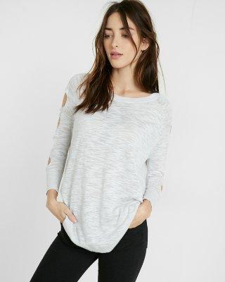 cut-out shoulder tunic sweater | express sjhdmti