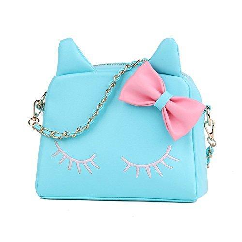 cute handbags new design fashion girls cute pu leather cat messenger tote shoulder bag  (blue) modttpg