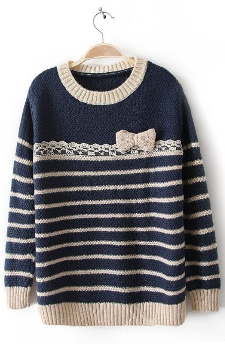 cute sweaters apricot blue long sleeve striped bow sweater oydlusq