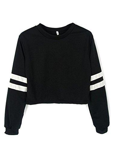 cute sweaters joeoy womenu0027s casual striped long sleeve crop top sweatshirt black-m vcsuaos