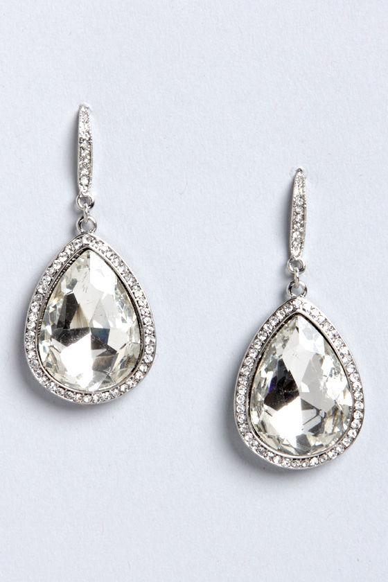 cute teardrop earrings - rhinestone earrings - silver earrings - $16.00 qcfcnjl