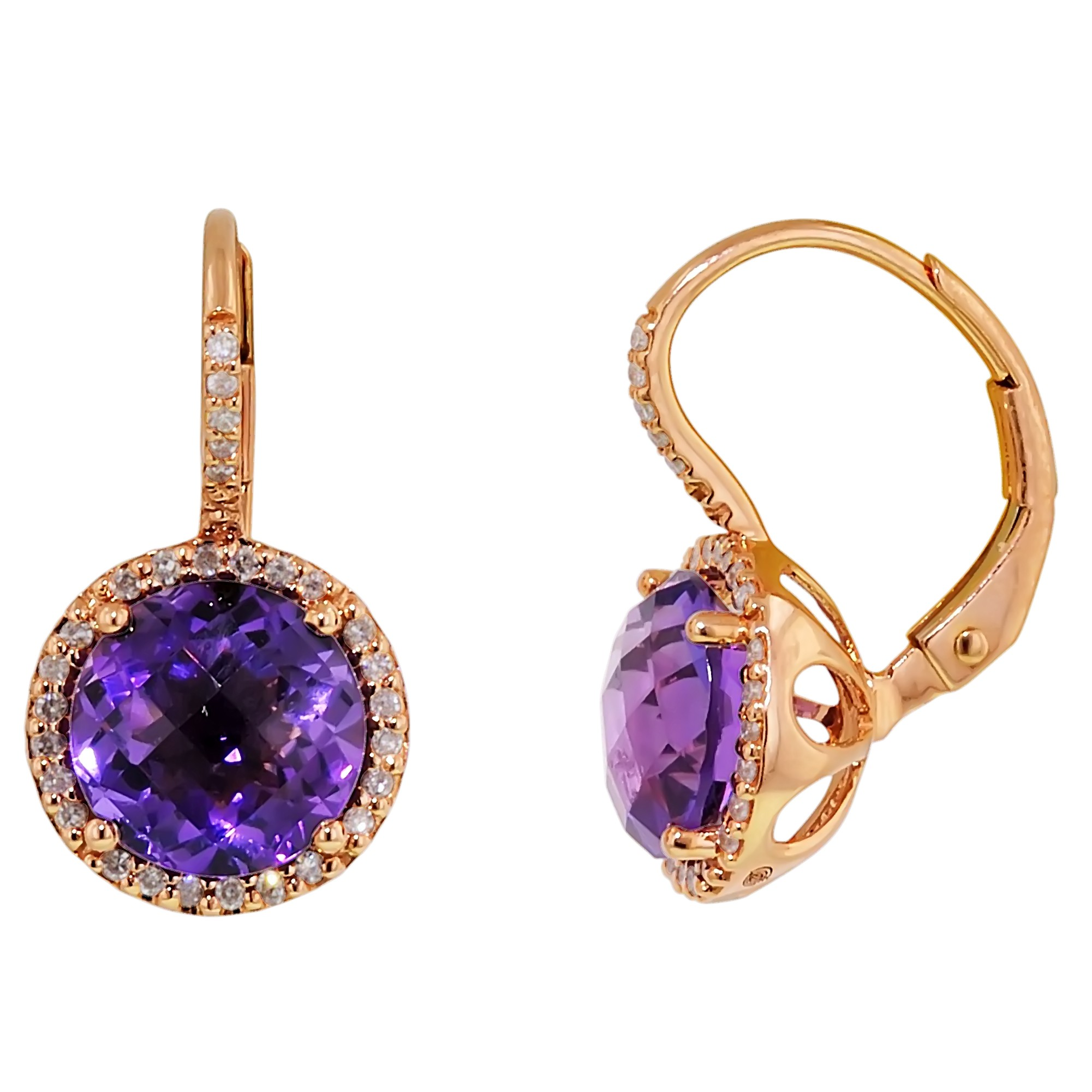dabakarov amethyst earrings in 14kt rose gold with diamonds(1/7ct tw) PFDEARH