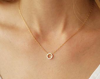 dainty circle necklace, karma necklace, gold circle necklace, minimalist  necklace, layering necklace adtymcb