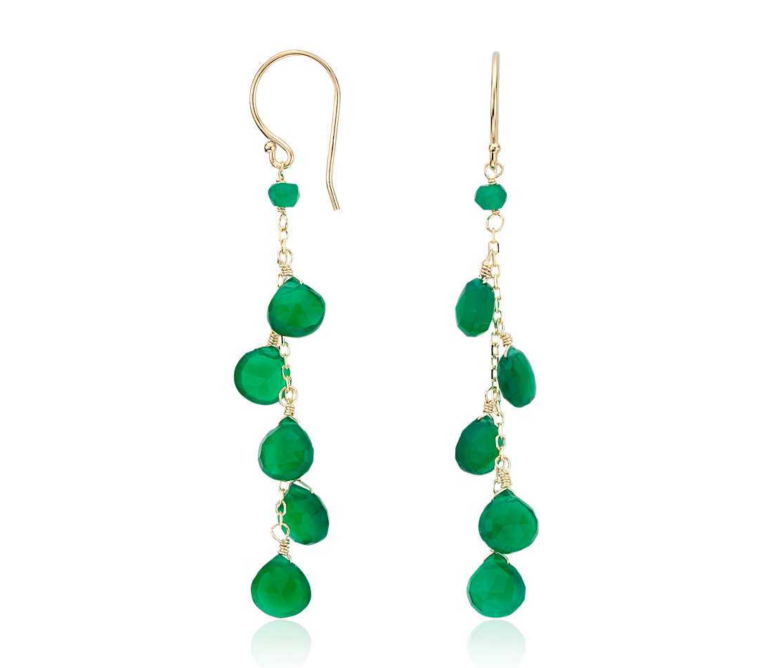 dangle earrings green agate drop earrings in 14k yellow gold (7mm) prcozhe
