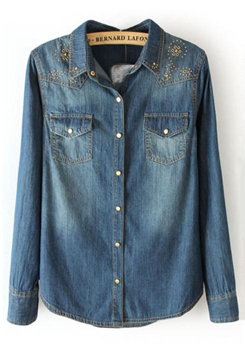 dark blue pockets lapel long sleeve denim blouse cgutsyc