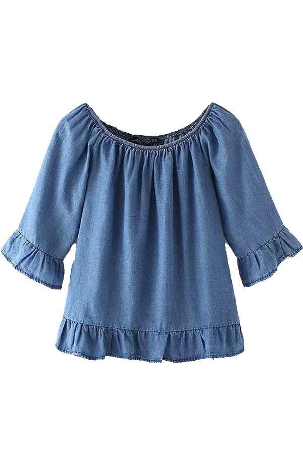 denim blouse blue elastic scoop neck ruffle denim top @ womens shirts u0026 blouses,women  shirts,cheap button lstujxk