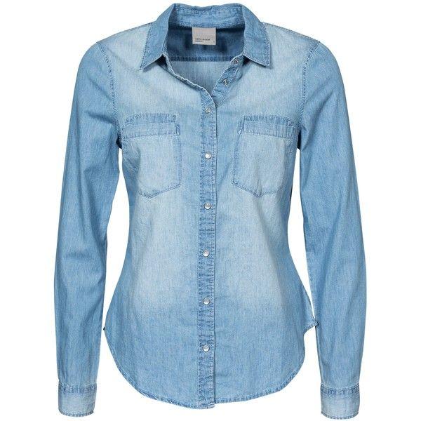 denim blouse vero moda vmmatilde ls denim shirt light blue found on polyvore featuring  tops, blouses, qzwcxjn
