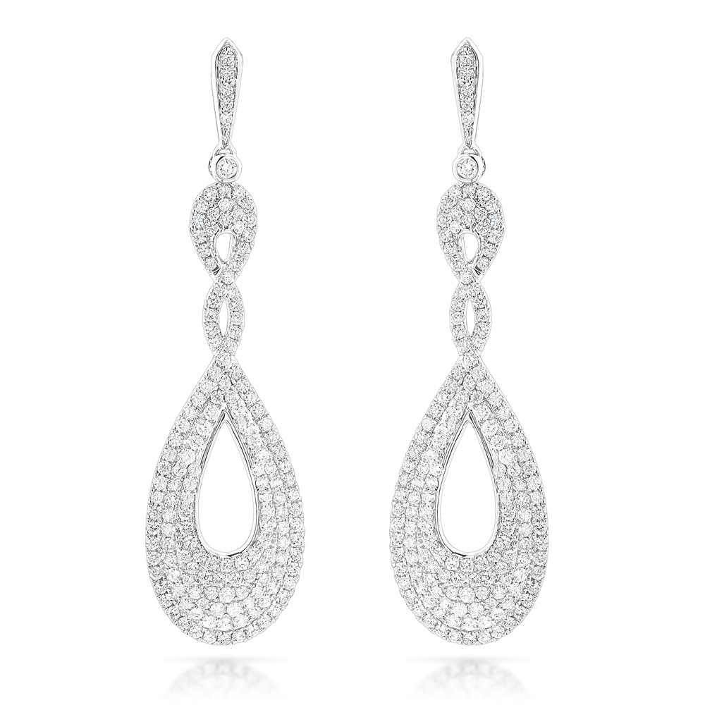 designer luxurman diamond drop swirl earrings for women 3.5ct in 14k gold didybvr