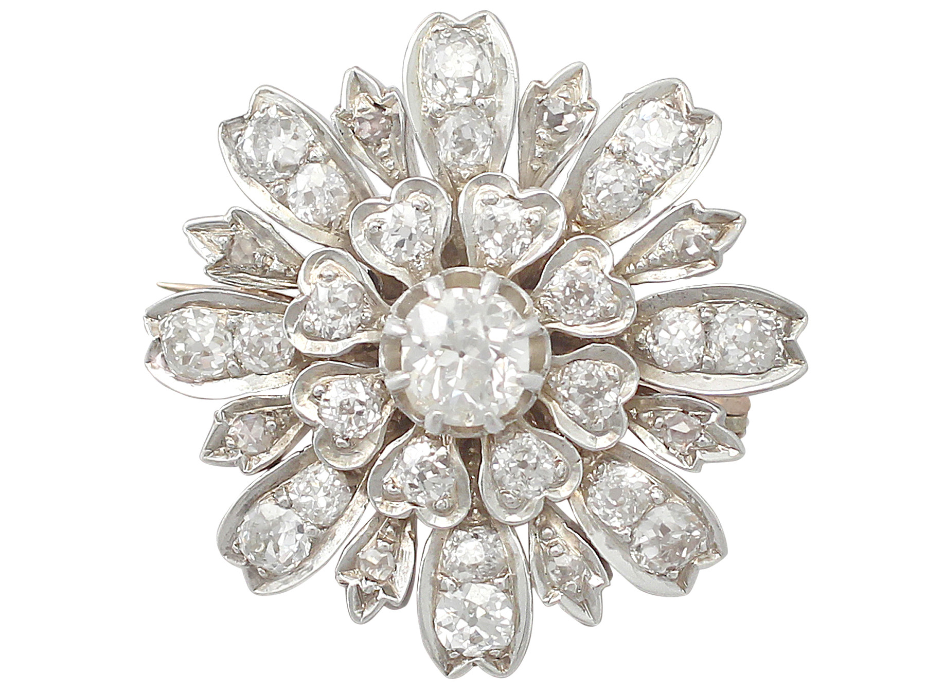 diamond brooch antique 4.08 ct diamond and 9 ct yellow gold, silver set brooch mzofotk