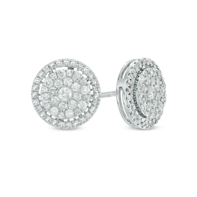 diamond earrings t.w. composite diamond frame stud earrings in 10k white gold pxdkmmk