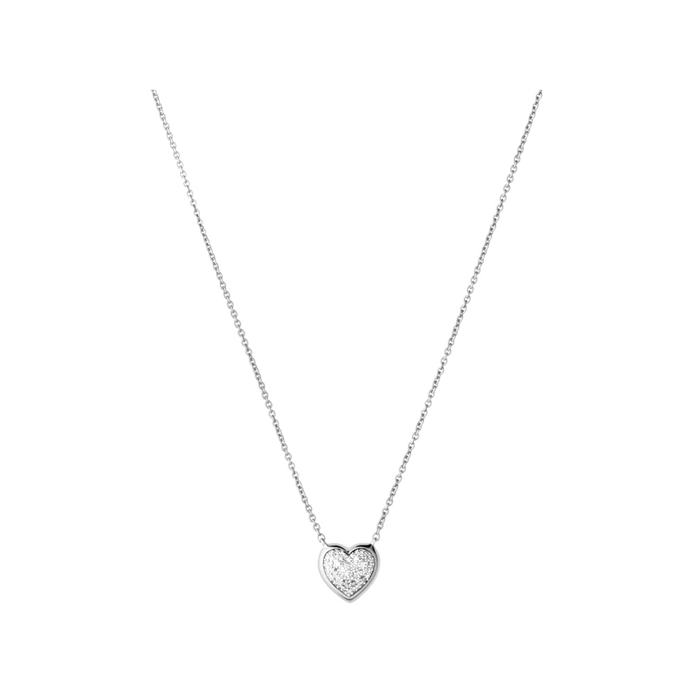 diamond essentials sterling silver u0026 pave heart necklace cargkew