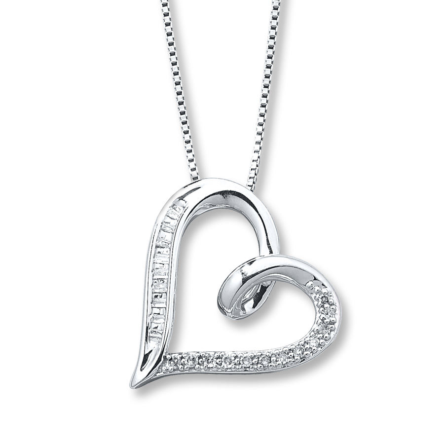 diamond heart necklace 1/10 carat tw sterling silver fuxpjlh