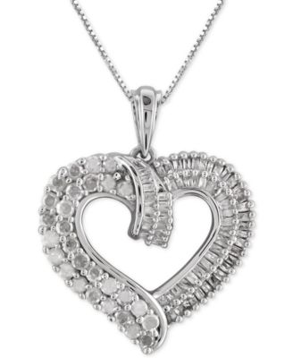 diamond heart necklace diamond heart pendant necklace (1 ct. t.w.) in sterling silver nnvumys