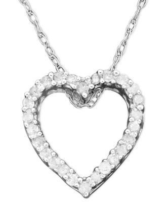 diamond heart necklace diamond heart pendant necklace in 14k white gold (1/10 ct. t.w.) pkycmyr