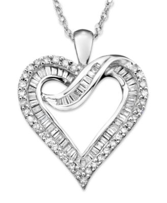 diamond heart necklace in 14k white gold or 14k gold (1/2 ct. t.w.) - bjrhvua