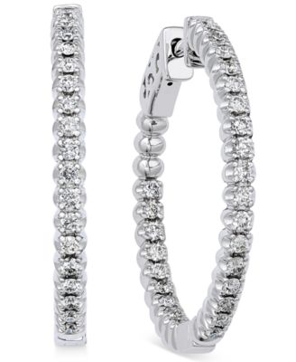diamond hoop earrings (1 ct. t.w.) in 14k white gold foahgui